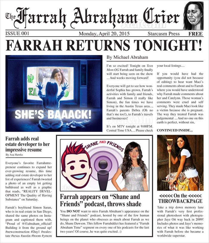 The Farrah Abraham Crier Volume 001 Return to Teen Mom OG, real estate development, Shane Dawson podcast