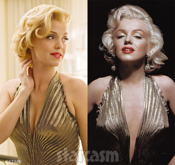 Lifetime miniseries star Kelli Garner as Marilyn Monroe side-by-side
