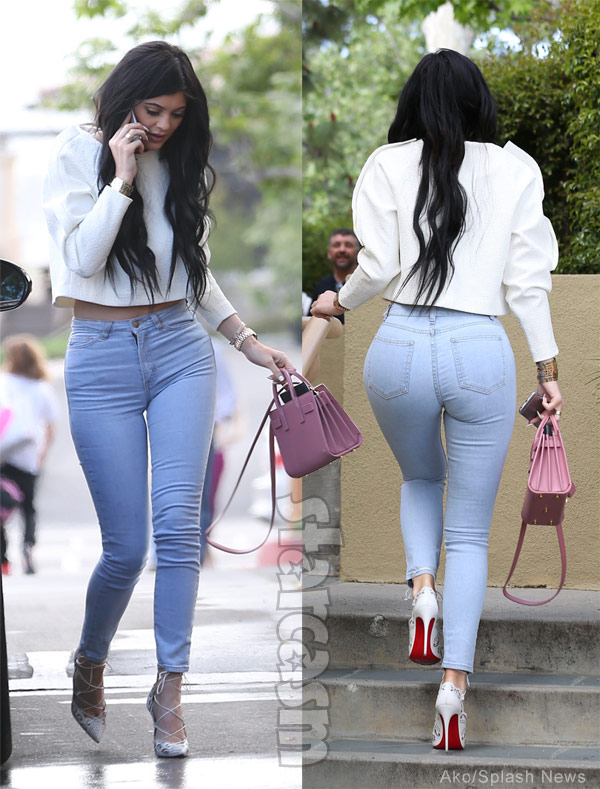 Kylie Jenner Easter church tight jeans
