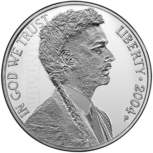 Shia LaBeouf Nickel coin hair