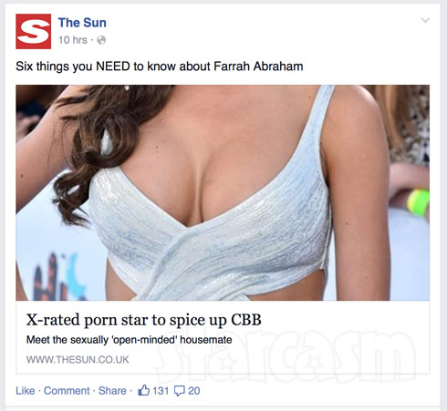 The Sun Farrah Abraham Celebrity Big Brother UK