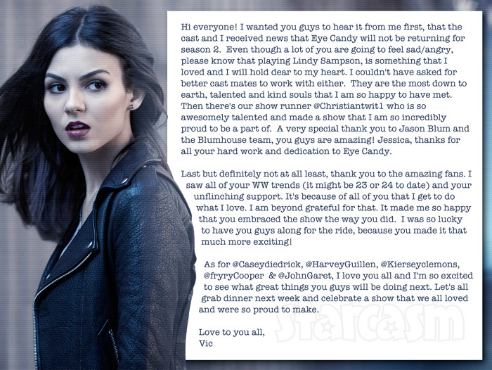 Victoria Justice Eye Candy cancelled statement on Twitter