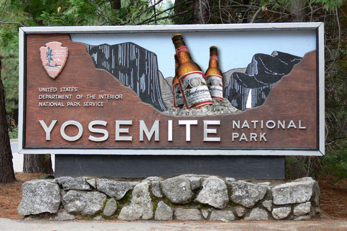 Anheuser-Busch Budweiser sign deal with National Parks Service Yosemite sign