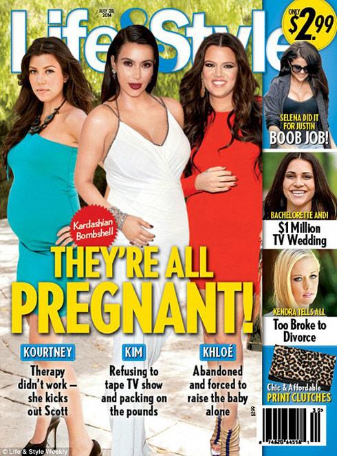 kardashian kourtney kim khloe they're all pregnant life and style cover