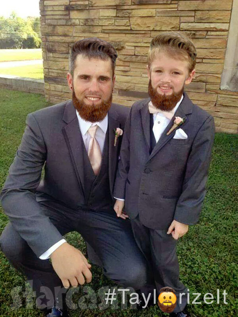 Bentley and dad Ryan Edwards with Taylor McKinney's beard Taylorize It