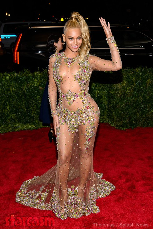 Beyonce shows off near-nude dress before Met gala in NYC
