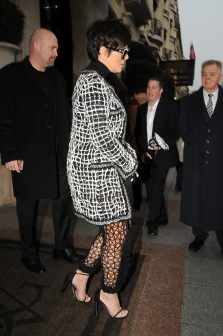 Kris Jenner shopping at the Yves Saint Laurent store in Paris wearing see-through mesh pants and carrying a Chanel clutch bag Featuring: Kris Jenner Where: Paris, France When: 27 Jan 2015 Credit: WENN.com **Not available for publication in France**