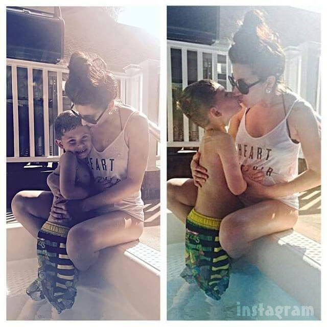 Kailyn Lowry and Jo Rivera's son Isaac and pregnant Vee baby bump kiss and hug