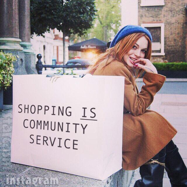 Lindsay Lohan shopping is community service bag