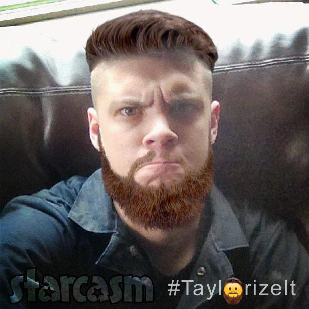 Tyler Baltierra with Taylor McKinney's beard Taylorize It