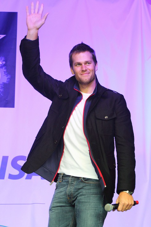 New England Patriots Quarterback Tom Brady The NFL Fan Rally in Trafalgar Square hosted by Sky Sports NFL presenters before the game on Sunday between St. Louis Rams and the New England Patriots at Wembley Stadium. London, England - 27.10.12 Where: London, UK, United Kingdom When: 27 Oct 2012 Credit: WENN