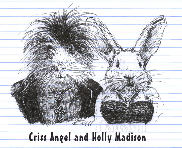 Criss Angel and Holly Madison drawing cartoon bunny and guinea pig