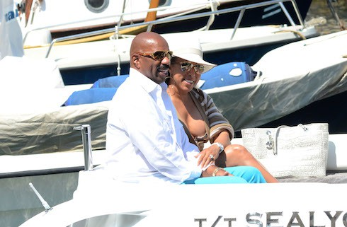 Actor and comedian Steve Harvey and his wife, Marjorie Bridges celebrate their wedding anniversary in Portofino Featuring: Marjorie Bridges, Steve Harvey Where: Portofino, Italy When: 20 Jun 2015 Credit: KIKA/WENN.com **Only available for publication in UK, Germany, Austria, Switzerland, USA**