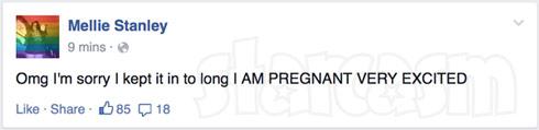 Mellie Stanley pregnant again 2015 Facebook