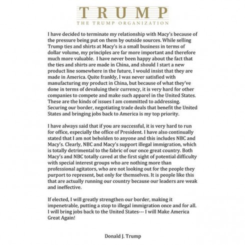 Trump statement