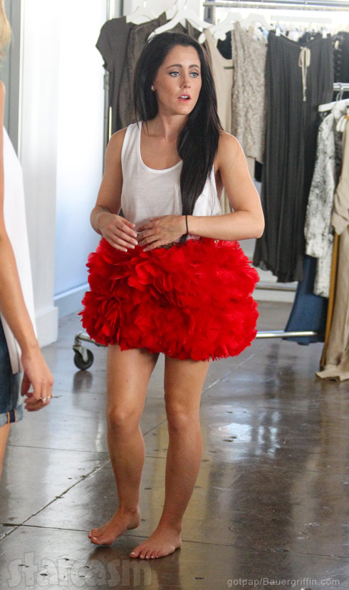 Jenelle Evans red feather skirt