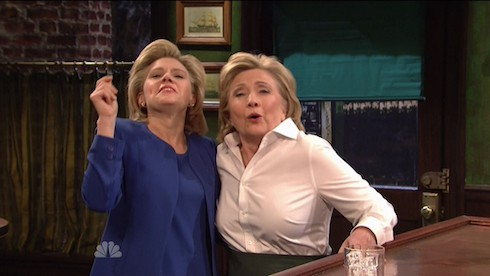 Miley Cyrus hosts the 41st season premiere of NBC's 'Saturday Night Live'. Democratic Nominee Hillary Clinton pops in a sketch on SNL playing a Bartender and doing an impression of Republican Nominee Donald Trump. Featuring: Hillary Clinton, Kate McKinnon Where: United States When: 03 Oct 2015 Credit: Supplied by WENN.com **WENN does not claim any ownership including but not limited to Copyright, License in attached material. Fees charged by WENN are for WENN's services only, do not, nor are they intended to, convey to the user any ownership of Copyright, License in material. By publishing this material you expressly agree to indemnify, to hold WENN, its directors, shareholders, employees harmless from any loss, claims, damages, demands, expenses (including legal fees), any causes of action, allegation against WENN arising out of, connected in any way with publication of the material.**