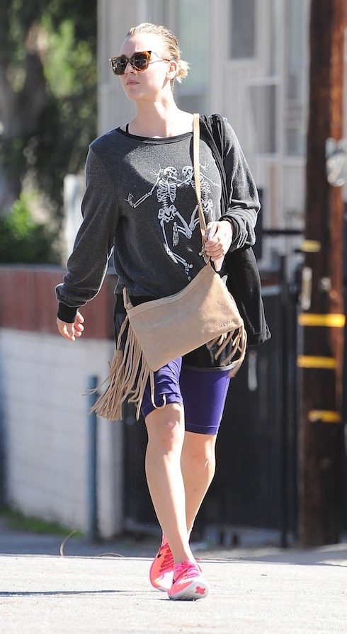 Kaley Cuoco ready for Halloween wearing a dancing skeleton sweatshirt, brown tassel handbag and pink neon sneakers, out and about running errands Featuring: Kaley Cuoco Where: Los Angeles, United States When: 20 Oct 2015 Credit: WENN.com