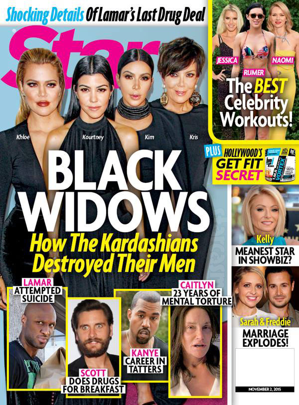 Star magazine cover aclling the Kardsahians Black Widows