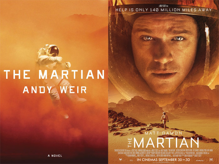 The Martian book cover and movie poster