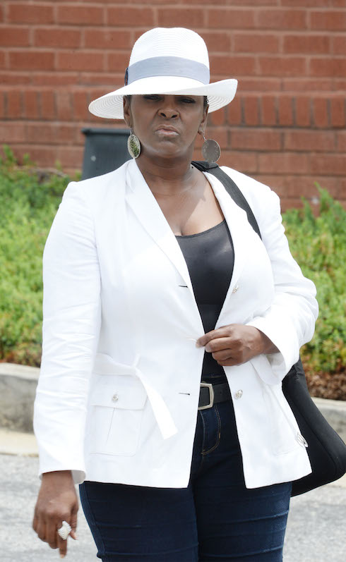 Leolah Brown leaving the church upset after she was told to leave service in GA. Leolah came out to talk to the press after being thrown out of Bobbi Kristina's funeral service. Pictured: Leolah Brown Ref: SPL1092672 010815 Picture by: Jason Winslow / Splash News Splash News and Pictures Los Angeles:310-821-2666 New York: 212-619-2666 London: 870-934-2666 photodesk@splashnews.com