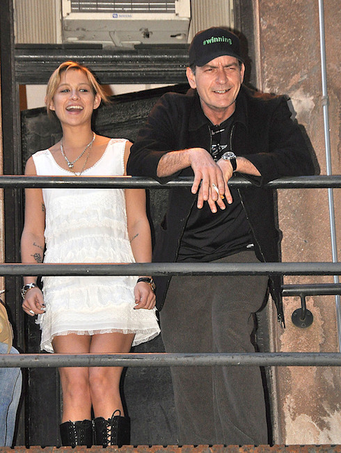Bree Olson and Charlie Sheen taking a smoke break and greet fans outside Massey Hall during his Toronto's stop for 'My Violent Torpedo of Truth Tour'. Toronto, Canada - 14.04.11 Where: Ontario, United States When: 14 Apr 2011 Credit: WENN