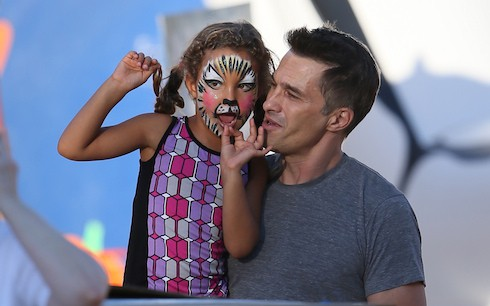 Olivier Martiez takes his step daughter Nahla Aubry to the Mr Bones Pumpkin Patch in West hollywood, to pick up Halloween suplies get Nahla's face painted and have a go on the slide. Featuring: Olivier Martinez,Nahla Aubry Where: Los Angeles, CA, United States When: 08 Oct 2013 Credit: Michael Wright/WENN.com