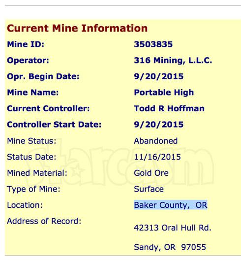 Todd Hoffman gold mine Oregon US