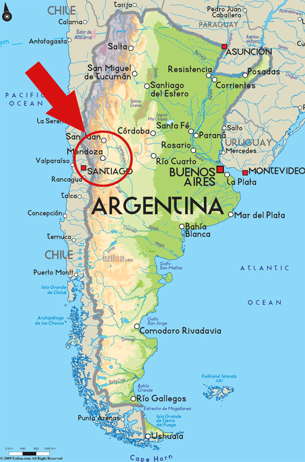 Argentina map MTV helicopter crash Potrerillos dam