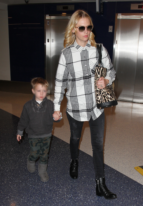 January Jones arrives at Los Angeles International Airport with her son Xander Dane Featuring: January Jones, Xander Dane Where: Los Angeles, California, United States When: 23 Nov 2015 Credit: WENN.com
