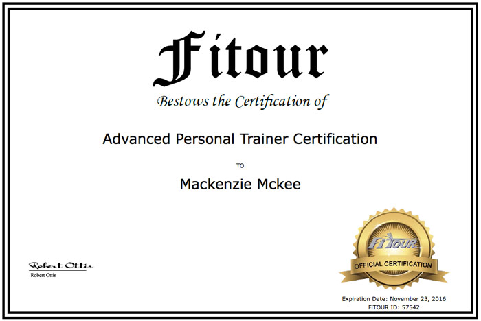 Mackenzie McKee personal trainer certificate from FiTOUR