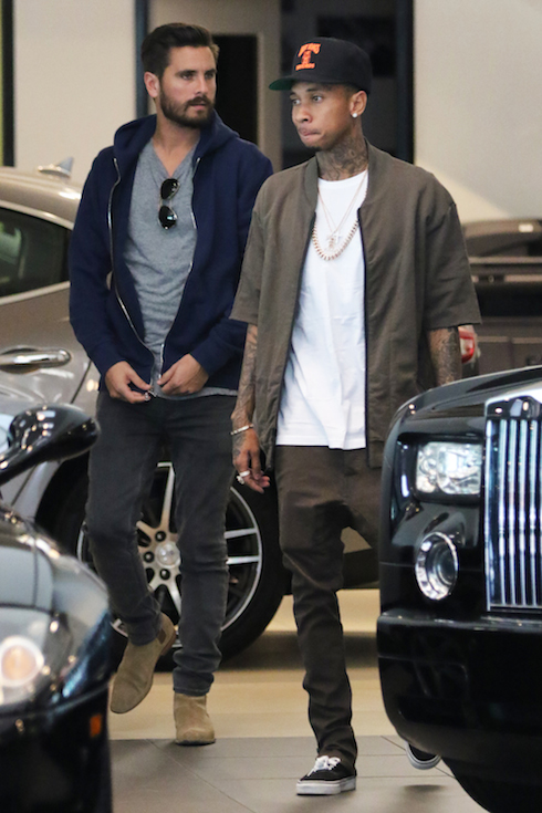 Scott Disick and Tyga go shopping for luxury cars in Beverly Hills while the Kardashian's are at the hospital after the birth of Kim Kardashian's new baby! Pictured: Scott Disick, Tyga Ref: SPL1190296 051215 Picture by: LA Photo Lab / Splash News Splash News and Pictures Los Angeles:310-821-2666 New York: 212-619-2666 London: 870-934-2666 photodesk@splashnews.com