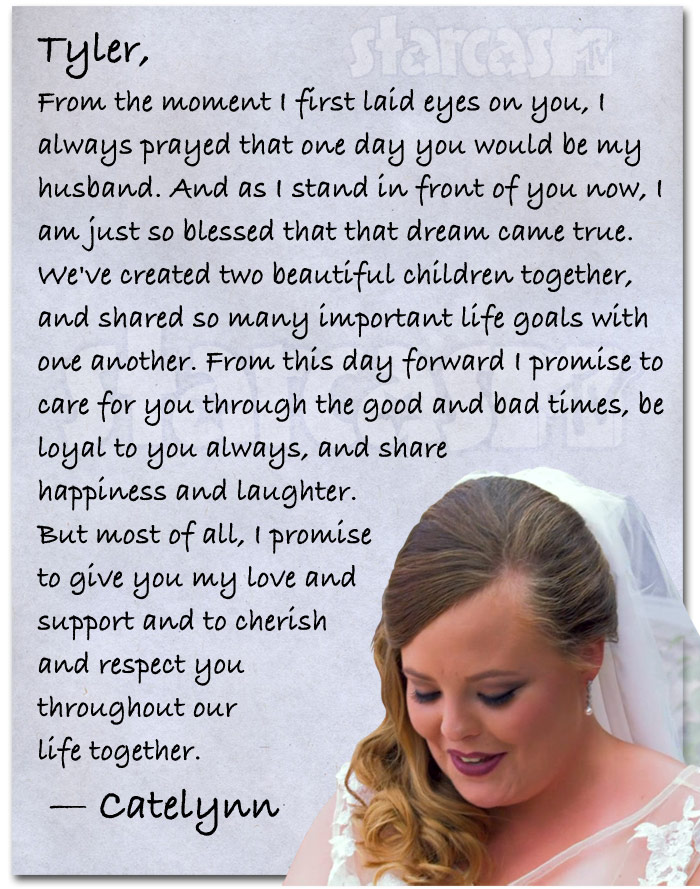 Catelynn Lowell's wedding vows