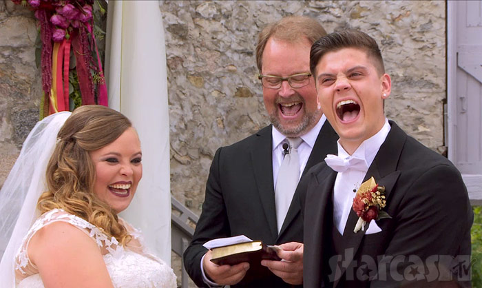 Catelynn and Tyler wedding laughing