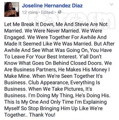 Joseline Hernandez not married to Stevie J Facebook post