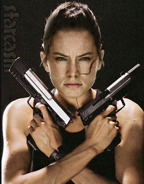 Star Wars Rey Daisy Ridley as Tomb Raider Lara Croft