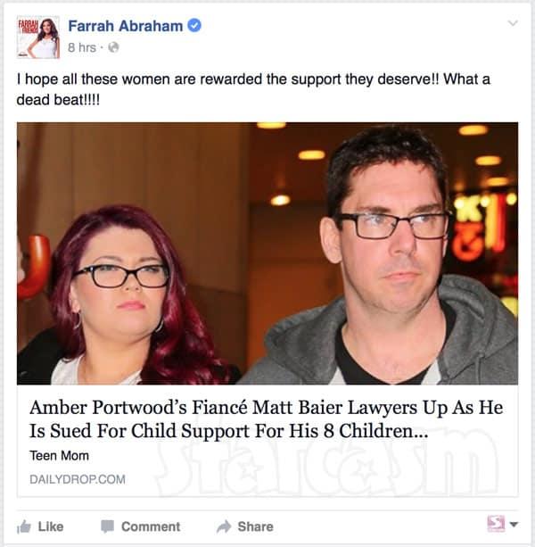 Farrah Abraham calls Matt Baier deadbeat