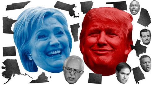 Hillary Clinton Donald Trump Super Tuesday results