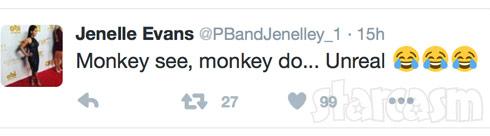 Jenelle Evans monkey see monkey do tweet about Chelsea Houska