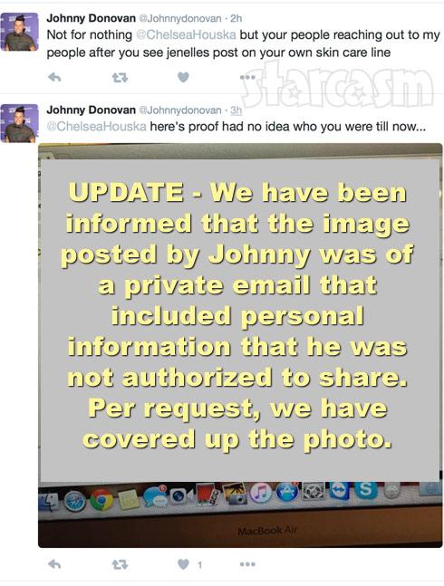 Johnny Donovan Chelsea Houska tweets email
