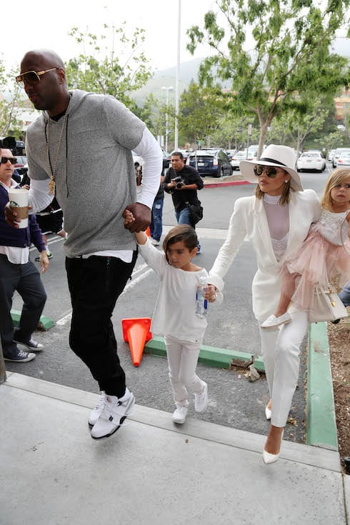 Khloe Kardashian and Lamar Odom show up together for Easter Sunday church with the rest of the family. Pictured: Khloe Kardashian and Lamar Odom Ref: SPL1252157 270316 Picture by: Clint Brewer / Splash News Splash News and Pictures Los Angeles: 310-821-2666 New York: 212-619-2666 London: 870-934-2666 photodesk@splashnews.com