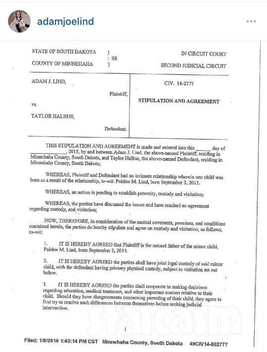 Adam Lind Posts Custody Agreement With Taylor Halbur With Defensive