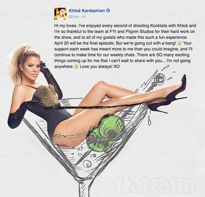 Kocktails With Khloe Kardashian Statement about cancellation
