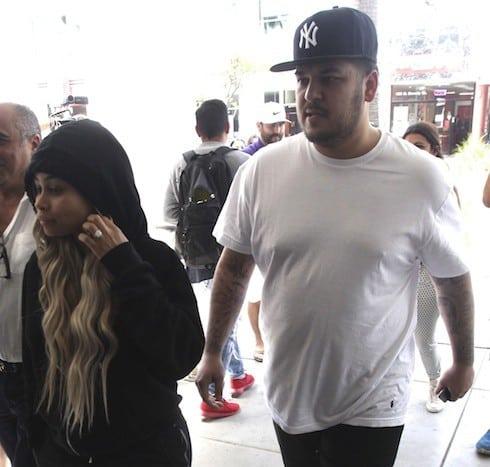 Kim Kardashian, Rob Kardashian, and Blac Chyna leaving Nate'n Al after having lunch together