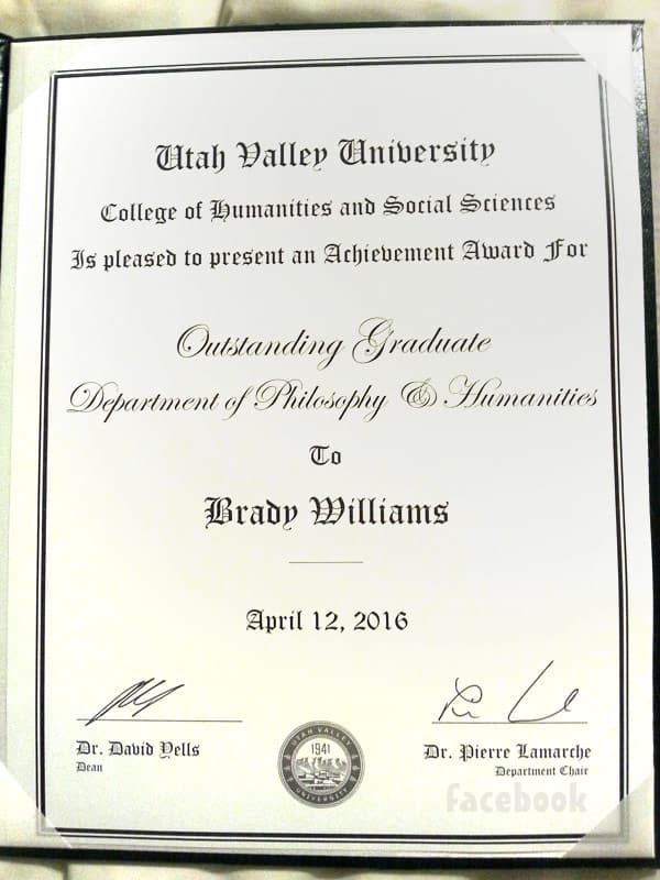 Brady Williams Utah Valley University Philosophy Department award