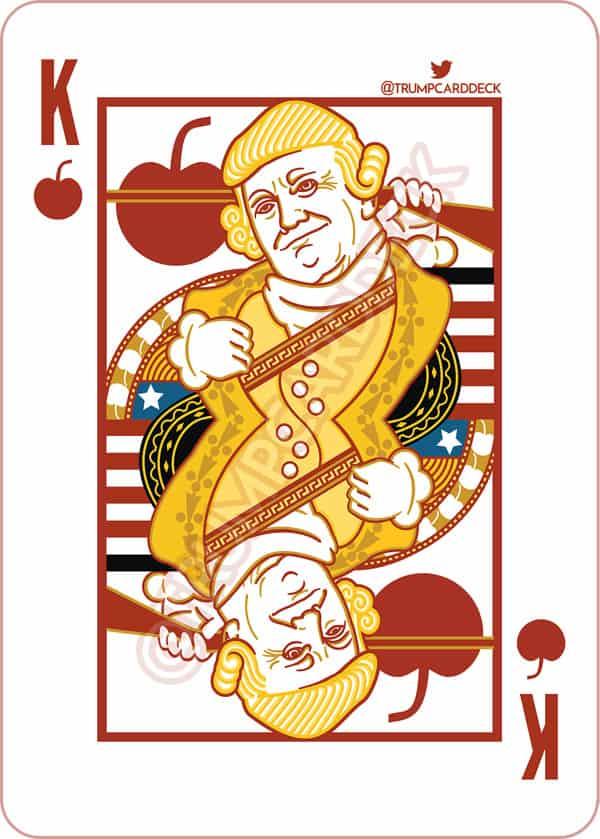 Donald Trump playing card as George Washington