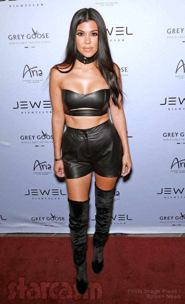 Kourtney Kardashian black leather