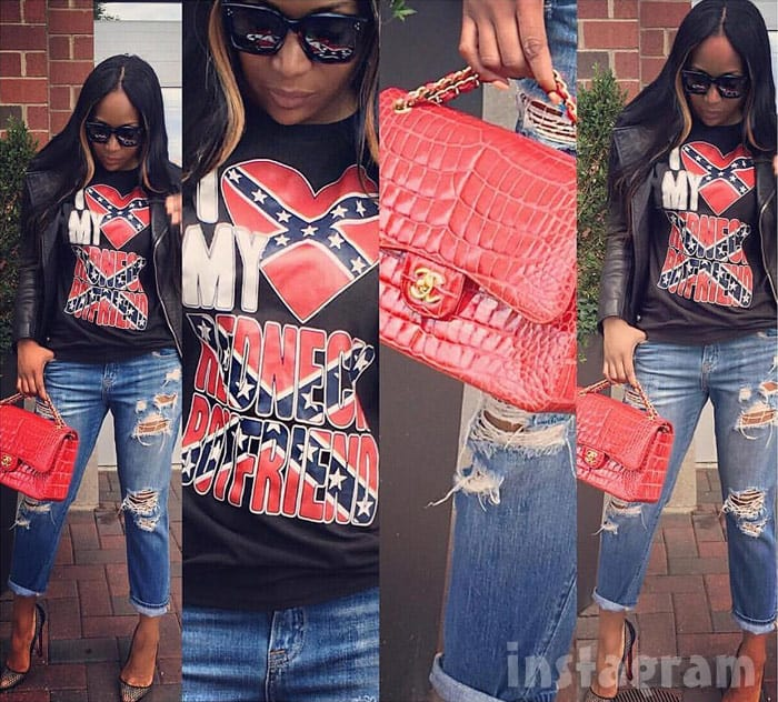Marlo Hampton Confederate flag t-shirt