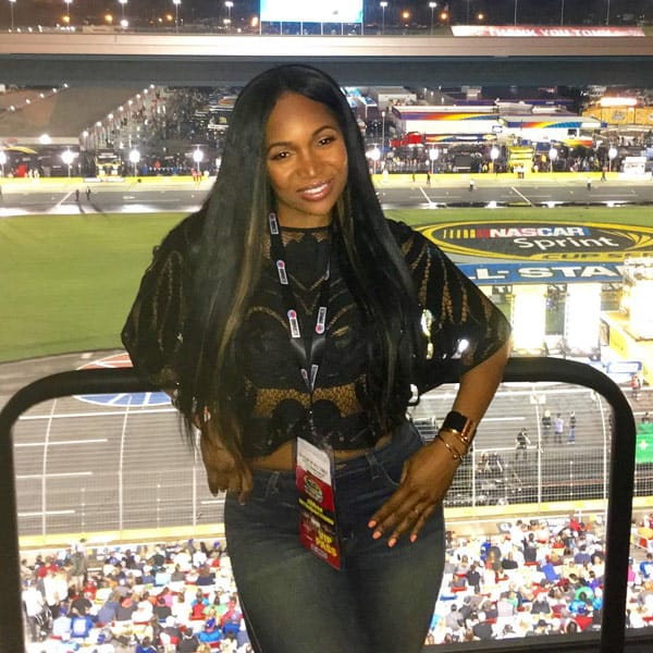 Marlo Hampton at NASCAR All Star race in Charlotte