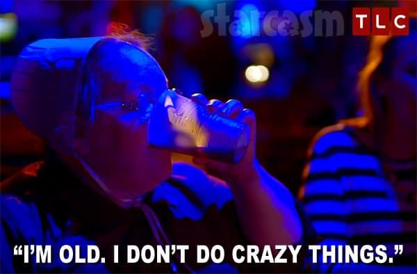 Mama Mary Schmucker drinking